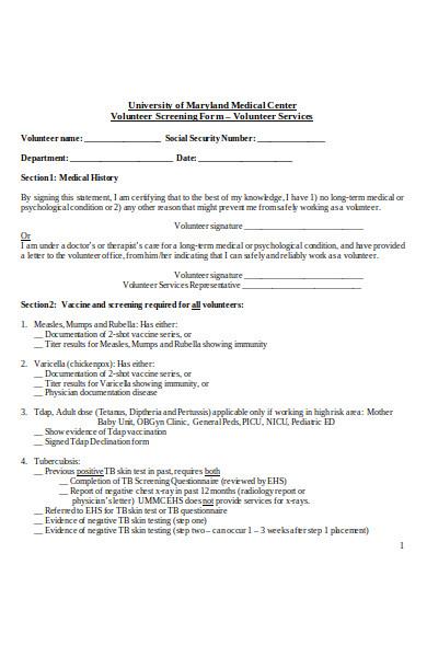 volunteer clearance form