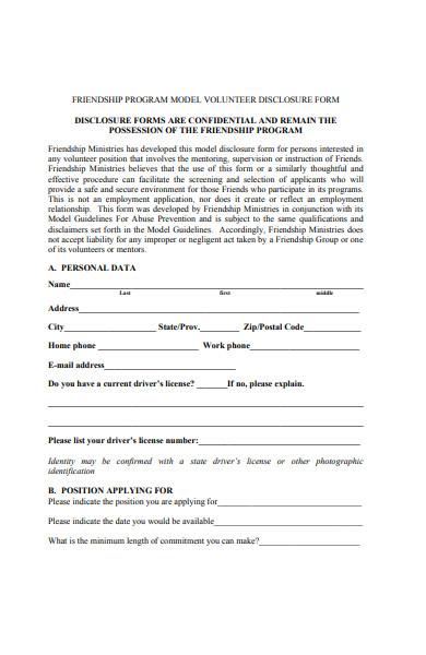volunteer disclosure form