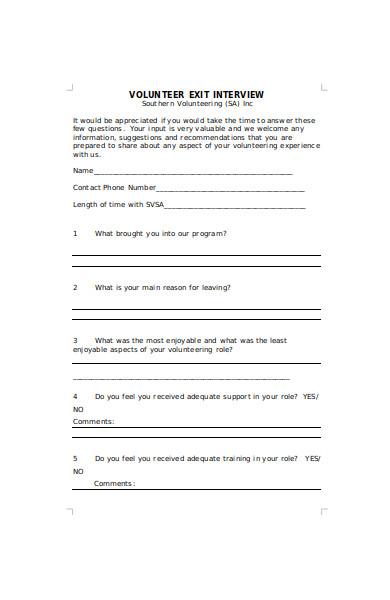 volunteer exit interview form