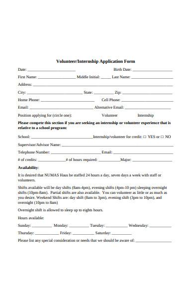 volunteer internship application form
