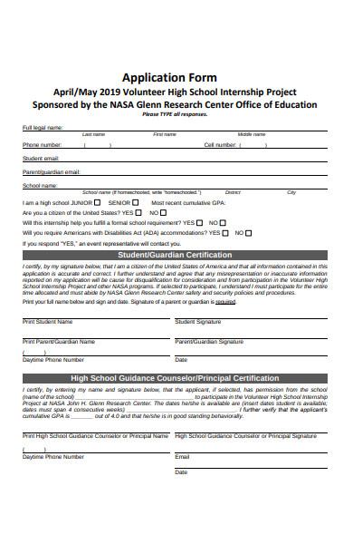 volunteer internship project application form