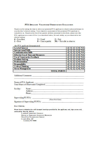 volunteer observation form