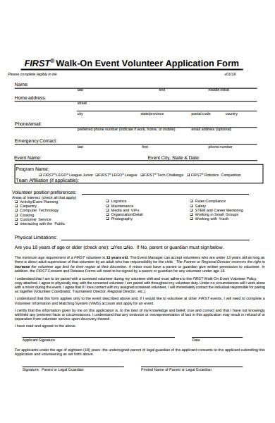 volunteer policy form