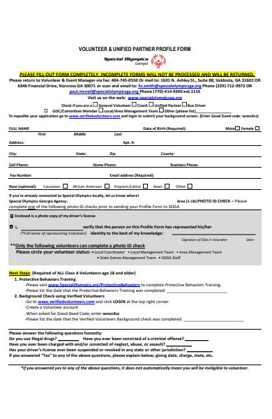 volunteer profile form