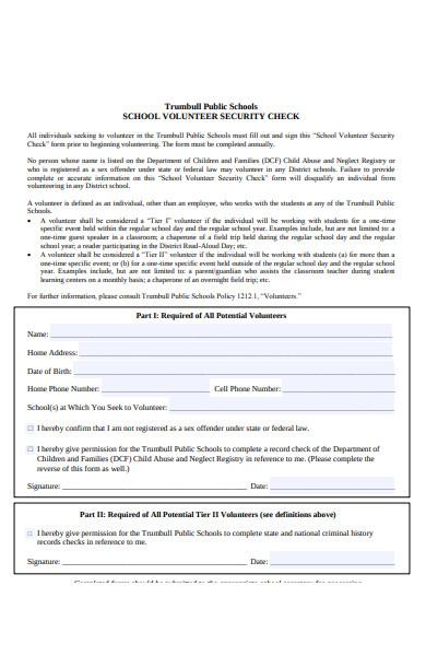 volunteer security form