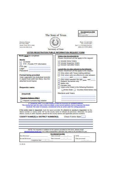 voter registration public information request form