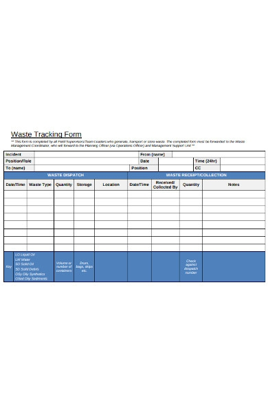 waste tracking forms