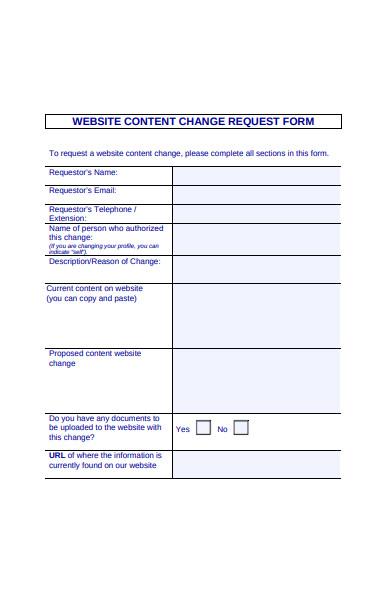 website content form