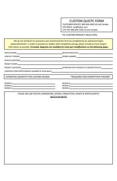website design custom quote form