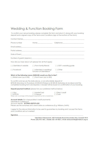 wedding function booking form