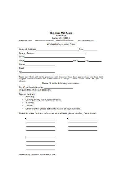 wholesale registration form