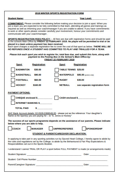 winter sports registration form