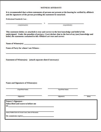witness testimonial affidavit form
