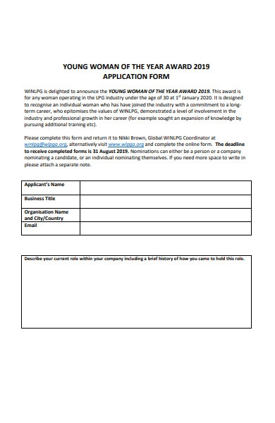 women of the year application form