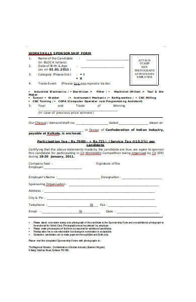 work skills sponsorship form
