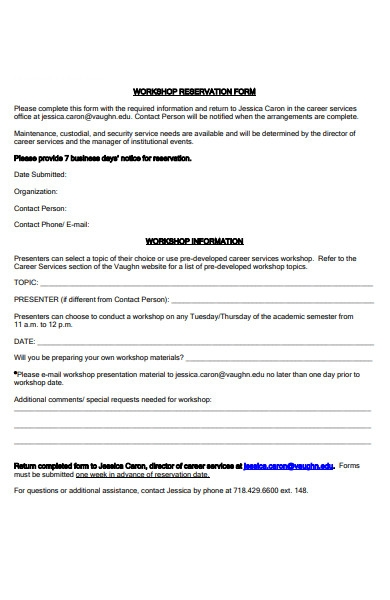 workshop reservation form