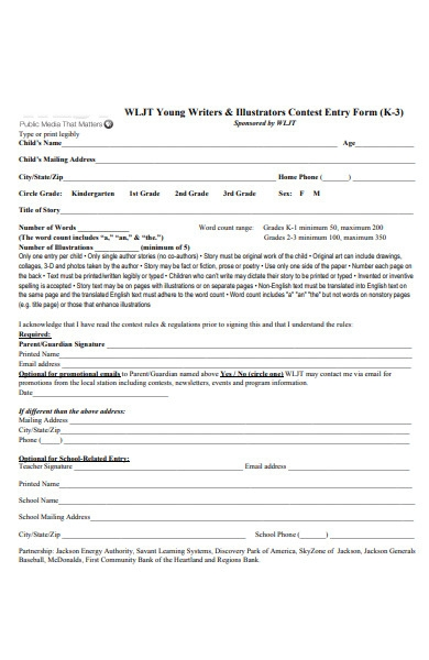 writer contest entry form