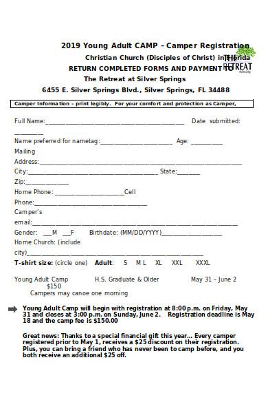 young adult camp registration form