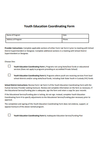 youth education coordinating form
