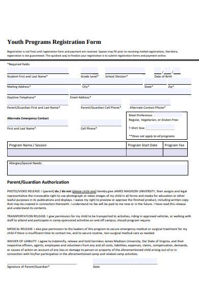 youth programs registration form