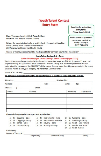 youth talent contest entry form