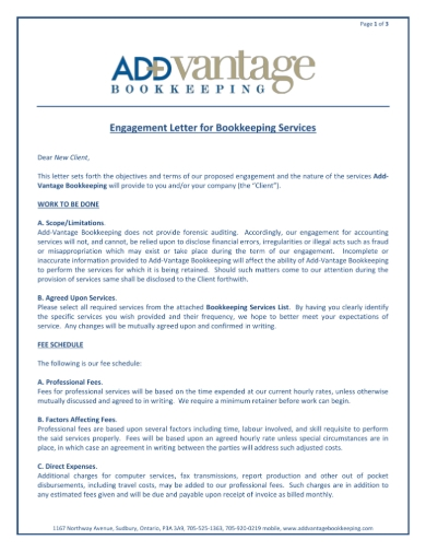 FREE 5+ Bookkeeping Services Agreement Forms in PDF