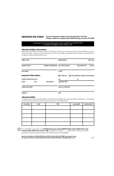 absentee bid form