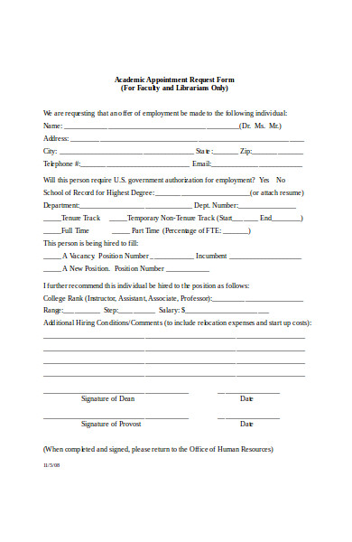 academic appointment request form