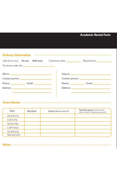 academic rental form
