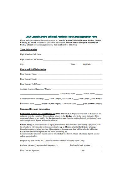academy team camp registration form
