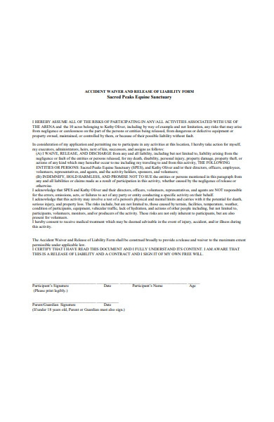 accident waiver and release of liability form
