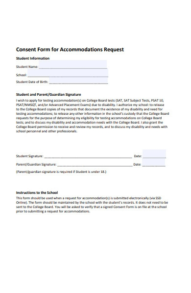 accommodation request consent form