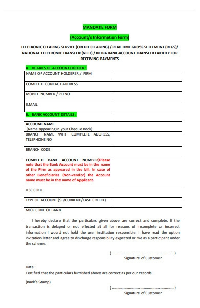 account information form