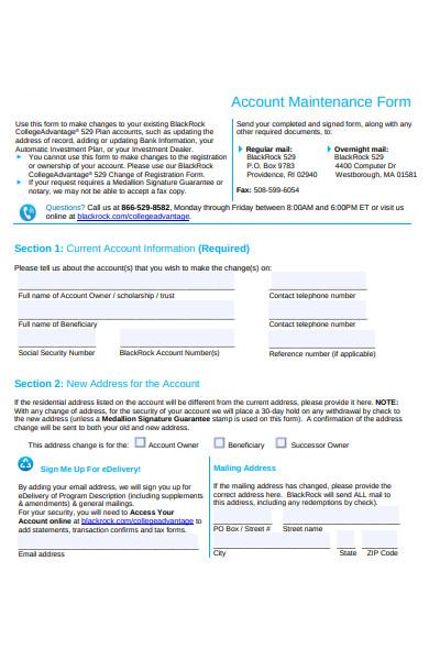 account maintenance form
