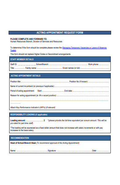 acting appointment request form