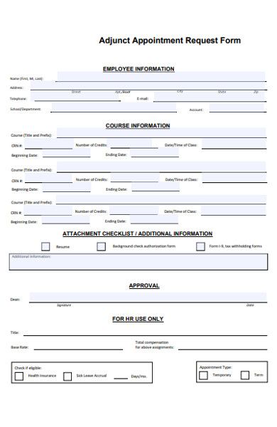adjunct appointment request form