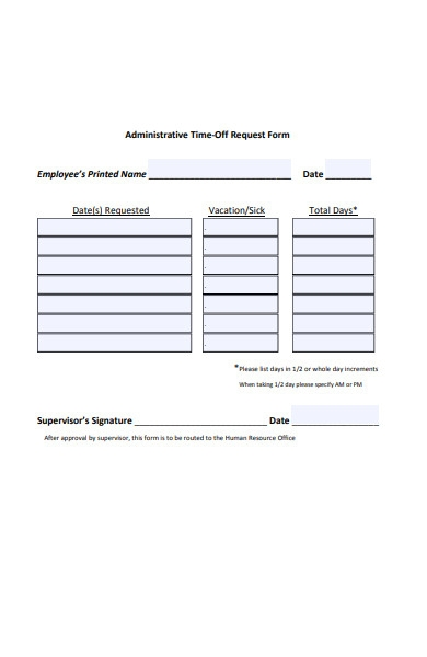 administrative time off request form