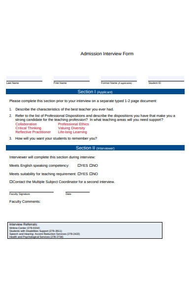 admission interview form