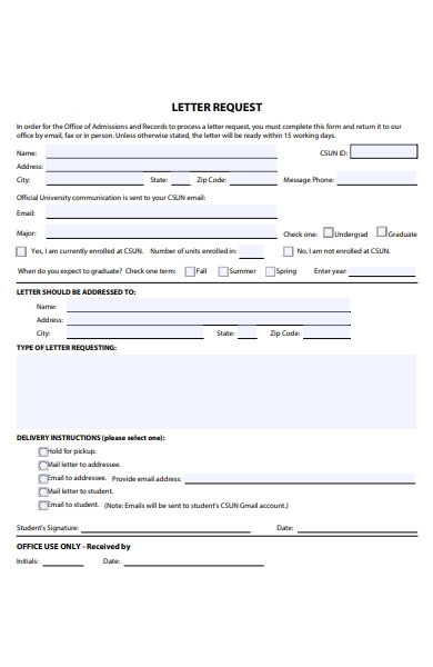 admission letter record form