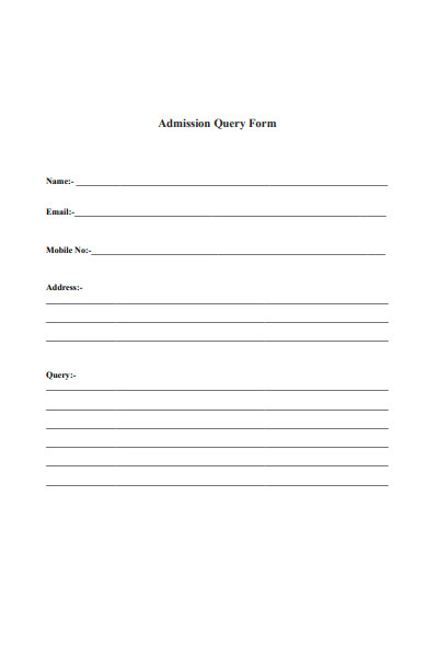 admission query form