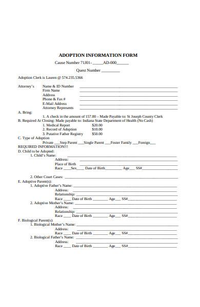 adoption information form