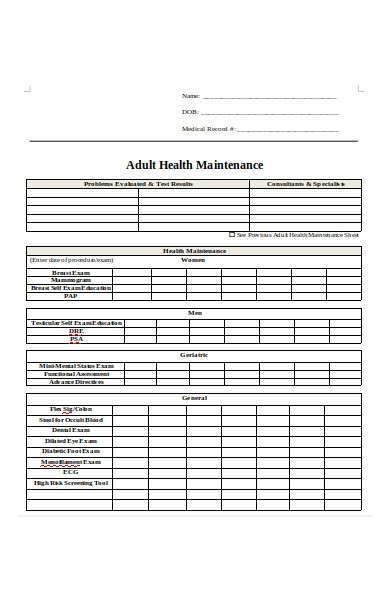 adult health maintenance form