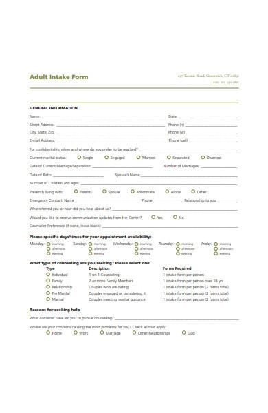 adult intake form sample