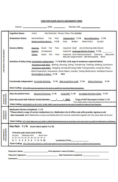 adults assessment form