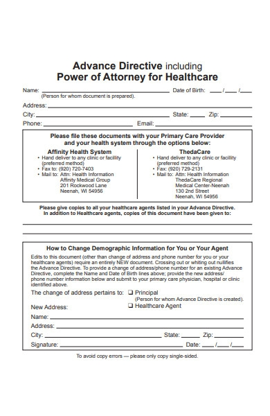 advance directive attorney form