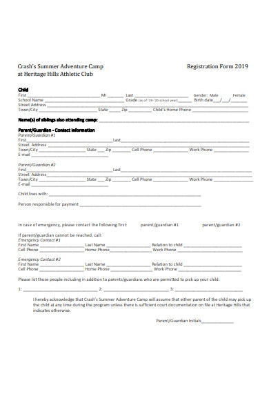 adventure camp registration form