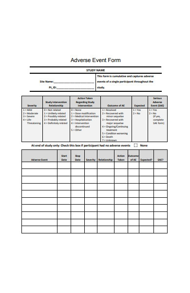 adverse event form