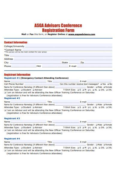 advisors conference registration form