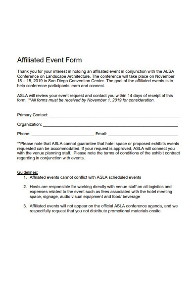 affiliated event form template
