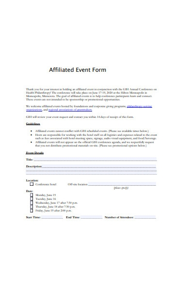 affiliated event form